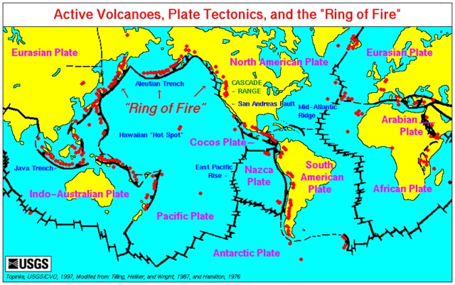 Global map illustrating known tectonic plate boundaries and volcanic fault lines which would be most vulnerable from volcanism. Image courtesy of Wikimedia Commons