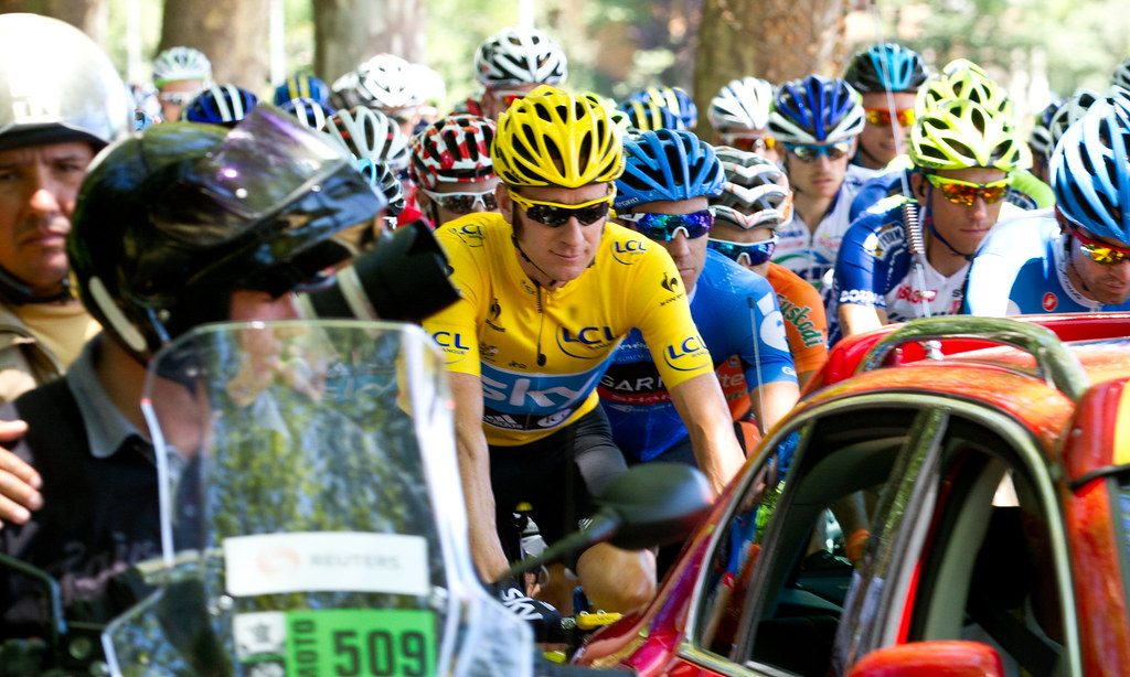 Bradley Wiggins (in yellow) leading the 98.5-mile 15th stage (Samatan to Pau) of the 2012 Tour de France. Image courtesy of Robert King